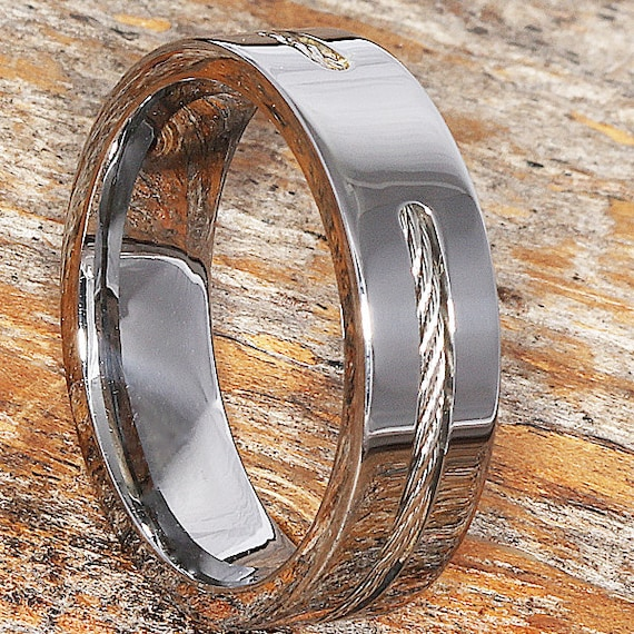 Custom Cable Inlay Tungsten Wedding Band 7mm Width Mens