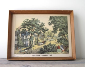 Vintage Reproduction Print in Wood Frame - A Home In The Country