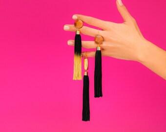 Set Of 3,Tassel Earrings, Long Tassel Earrings, Black Tassel, Jewelry Set, Black Statement Earrings, Black Earrings, Statement Earrings