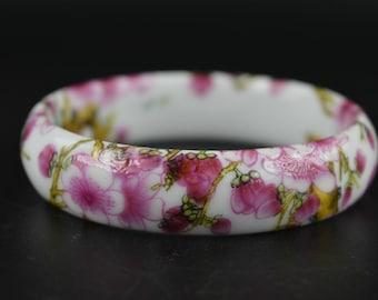 Sale! Gift for Her! Pink PLUM /Cherry blossom on white PORCELAIN bangle Bracelet