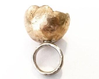 Unique statement sterling silver and bronze ring fingerprint texture