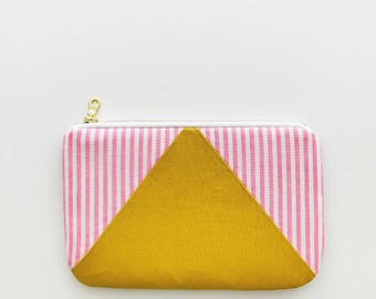 Pink and White Stripe Zipper Pouch