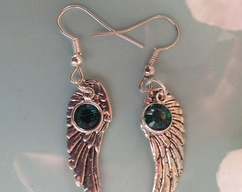 Angel wing earrings, emerald Swarovski earrings, Angel wing jewelry, handcrafted jewelry, handcrafted, handmade, trendy jewelry
