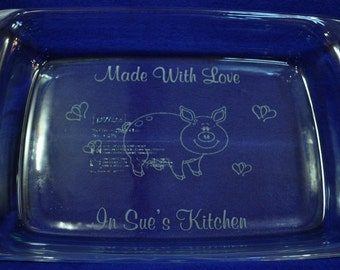 Christmas Gifts ~ Engraved Pan ~ Custom Baking Pan ~ Engraved Gifts ~ Pig Gifts ~ Pig ~ Mom Gift ~ Gift For Pig Lover ~ Pig Decor ~ Pigs ~