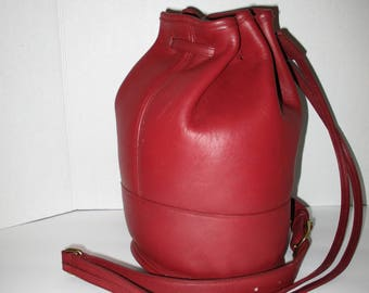 Vintage Coach Bixby 9984 Bucket Red Leather Backpack Shoulder Purse.