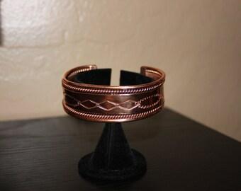 """1"""" Copper Cuff with Unique Design"""