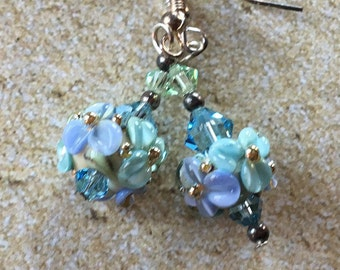 Flower Lampwork Earrings, Blue Floral Earrings, Lampwork Jewelry, Gift For Her, SRA Lampwork Jewelry, SRA Lampwork Earrings