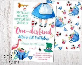 ALICE IN ONEDERLAND Birthday Invitation Alice in onederland Invitation Alice in ONEderland first birthday invitation Printable