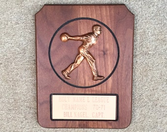Vintage 1970 Wood and Copper Bowling Plaque Trophy