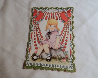 """Vintage """"Dr. Valentine"""" Card - Collectible Ephemera - Child's School type Greeting Card with Girl on front and Boy on back - Hearts     2-24"""