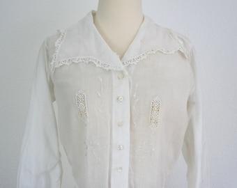 Vintage Edwardian White Cotton Embroidered Blouse