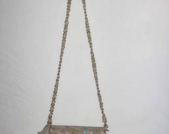 VTG Fancy Nancy USA Made Multicolor Butterfly Leaf Hand Painted Flap Closure Interior Zipper Pouch Gold Chain Leather Shoulder Strap Handbag