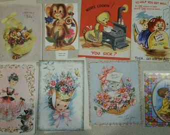 Vintage greeting cards,  vintage card emphera,  get well cards