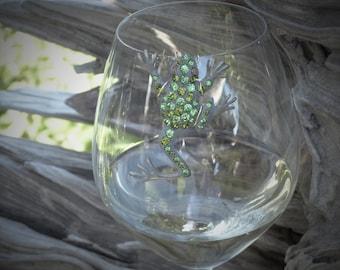 Green Frog Wine Glass Marker