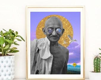 Inspirational print - Motivational poster - Mahatma Gandhi art -Gift for a leader