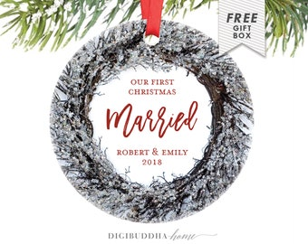 Our First Married Christmas Wedding Gift for Newlywed Christmas Gift Mr and Mrs, Our First Married Christmas Ornament Personalized Wedding