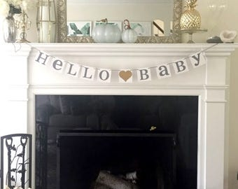 Hello Baby Banner / Baby Shower / Nursery Sign Decoration / Rustic Baby  Decor / Nursery
