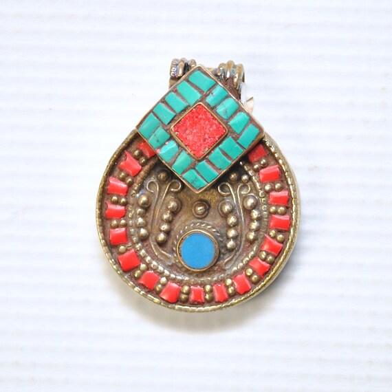 Tibetan Coral, Turquoise and Lapis Pendant #4995