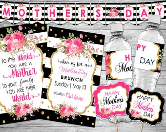 Mother Day Party Printables, Mother Day Brunch Invitation, Mother's Day Package, Mother Day Party Invitation, Mother's Day Party Decorations
