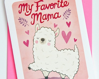 Funny Mothers Day Card for Mom - My Favorite Mama Llama -Sweet Mother's Day Card for Mom My Favorite Mom Card Happy Mothers Day Gift for Mom