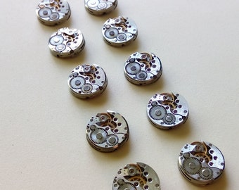 Lot of 10 watch movements - 16mm watch movement - Steampunk Supplies - Antique Watch Parts, Old Watch Supplies - watch movements - steampunk