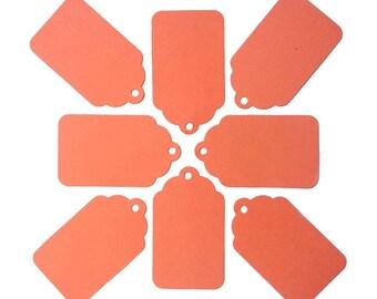 "50 Salmon Pink Orange Paper Gift Tags 2 1/16"" x 1 1/4"" 65lb Repurposed Cardstock Paper"