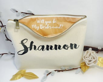 Will you be my Bridesmaid? , Personalized makeup bag, cosmetic bag, bridesmaid gift, bridesmaids proposal ideas , Bridal gift, maid of honor