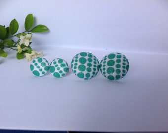 Handmade Green Spotted Fabric Button Earrings