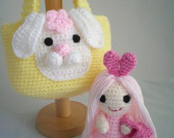 Crochet Dolly and Bag set / Crochet Childrens Handbag / Crochet Dolly /  Bag Buddies / Rabbit Purse and Doll / Crochet Purse and Dolly Set.