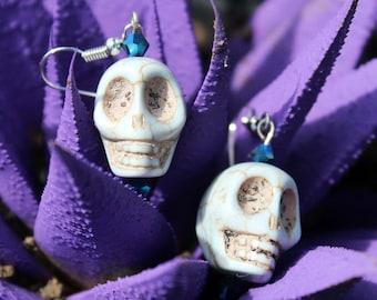 Sugar Skull Earrings, Day of the Dead Earrings, Rocker Earrings, Day of the Dead Jewelry, Sugar Skull Jewelry, Sugar Skull, Day of the Dead