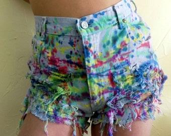 High Waisted Denim Rainbow Splatter Shorts