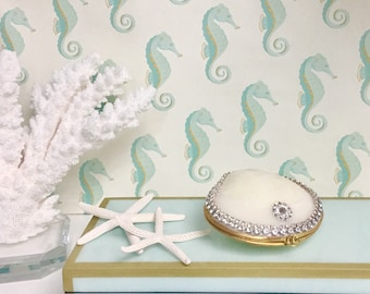 Seashell Ring Box with Swarovski Crystal Chain - Beach Wedding, Beach Wedding Ring Bearer, Bridesmaid Jewelry Box Ring Proposal