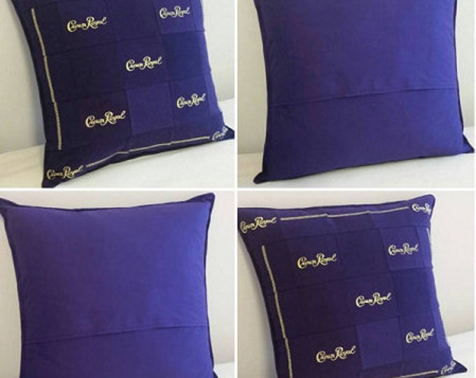 Featured listing image: Crown Royal Throw Pillows Made From Genuine Crown Royal Bags, Made to Order, You Choose Pattern, Can Be Made to Match Your Quilt, Guy Gifts