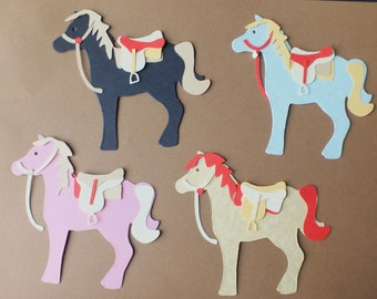 Children's Craft Activity pack 4 loose sets of HORSE die cut shapes and saddle ready for assembly assorted colours