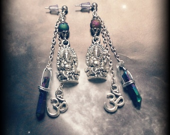 Silver Ganesh and Ohm Charms Earrings with Rainbow Titanium Quartz Crystal Geode Beads Zen Yoga Reiki Om Hypoallergenic