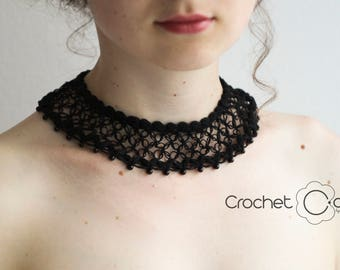 Summer Party Black Crochet Collar Necklace with black stones