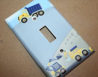 Construction Truck Boys Nursery Bedroom Single Light Switch Cover LS0066