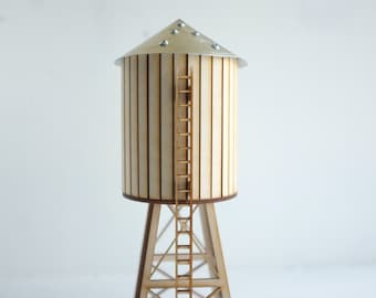 NYC water tower - miniature tabletop wooden water tower - gold aluminum roof and accents  - industrial cityscape decor - geometric