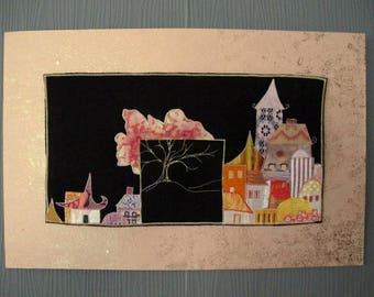 Art print textile houses applique