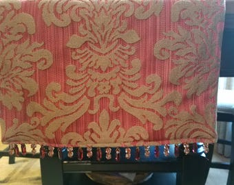 Red and Gold Table Runner/Dresser Scarf with Beading