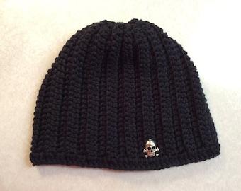 Pirate beanie size adult or teen, men or women's hat, Valentine gift idea, black beanie, Hand crochet, winter beanie, snow hat. ATV beanie
