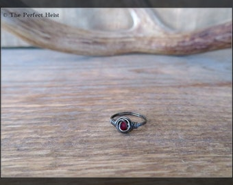 Ring, Black, Hematite, Size 1, Wire, Wrap, Knuckle, Small Finger, Girls, Red