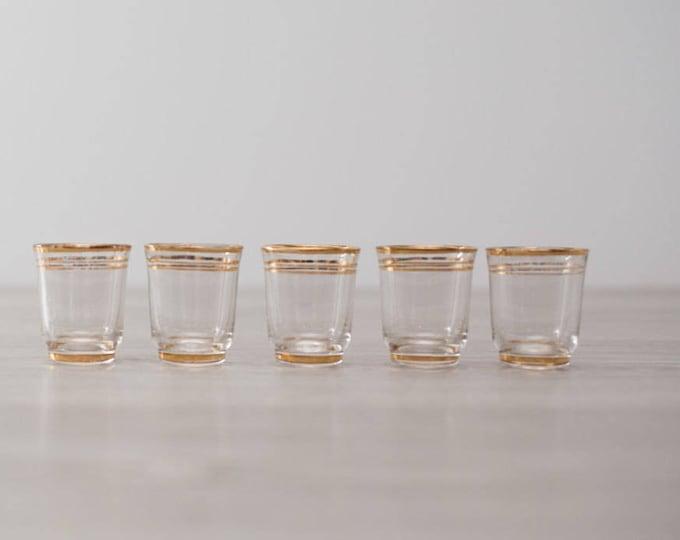 Vintage Gold Band Shot Glasses set of 5 / Mid Century Modern Stripe Design / Shotglass Barware