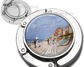 Monet Beach at Trouville Foldable Purse Hook Bag Hanger With Lipstick Compact Mirror