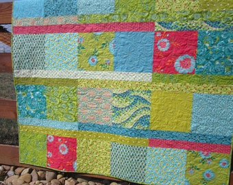 Modern Quilt Boho Handmade Gift Quilts for Sale Teen Girl's Room Decor Quilted Throw Floral Green Blue Pink Bohemian Patchwork Contemporary