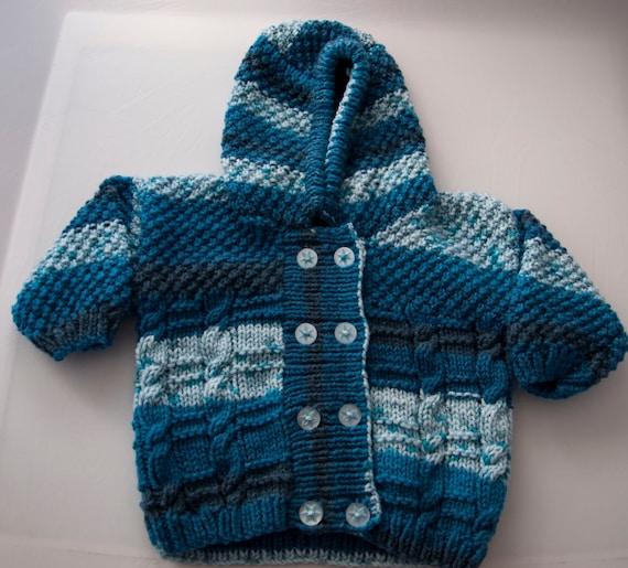 Handknitted Boys Hoodie Cabled Cardigan 18months