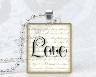 LOVE Pendant, Inspirational Word Jewelry, Scrabble Tile Art Pendant Charm Jewelry, Romantic Jewelry, Love Jewelry