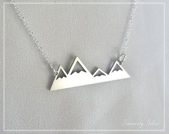 The Mountains Are Calling Necklace, Mountain Necklace, Four Peaks Mountain Necklace, Nature Necklace, Outdoor Necklace