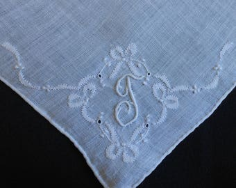 T Monogram Hanky White Linen Shadow Embroidery Bows Handkerchief, Embroidered Vintage Something Old Wedding Hankie, Gift Hanky Letter T
