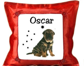 Sharpei red pillow personalized with name